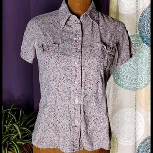 Classic Blues Vintage Collared Floral Print Blouse